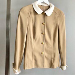 Rena Lange Cream Rounded Collar Beige Wool Jacket